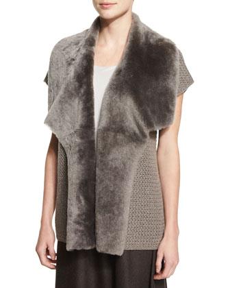 Short-Sleeve Cashmere Vest W/ Shearling Fur Collar
