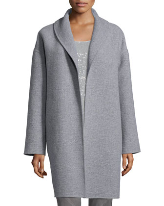 Hutton Open-Front Cashmere Coat, Anthracite