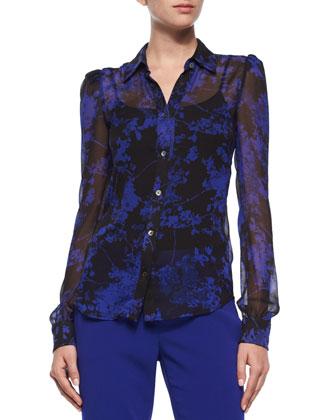 Mariah Floral Daze Silk Blouse, Black/Blue
