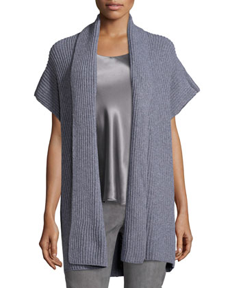 Merino/Cashmere Cape-Sleeve Cardigan, Nickel