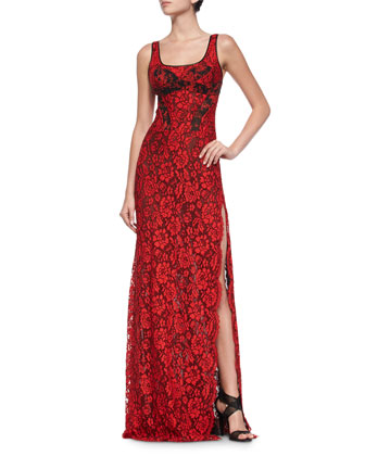 Sleeveless Floral Lace Gown, Poppy/Black