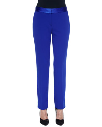 Genesis Satin-Trim Ankle Pants, Cosmic Cobalt