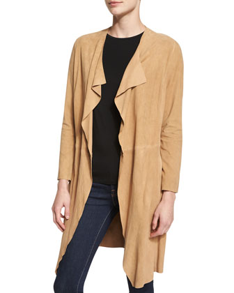 Draped Goat-Suede Topper, Camel