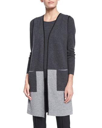Plated Colorblock Wool Vest, Fine-Gauge Long-Sleeve Sweater & City Slim ...