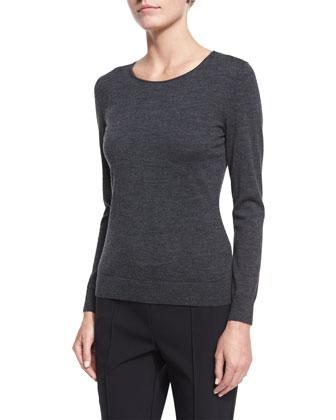 Fine-Gauge Long-Sleeve Sweater, Smoke