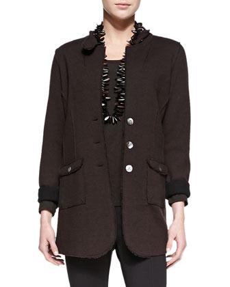 Felted Merino Long Jacket, Long-Sleeve-Slim-Jersey Top, Rayon Knit Skinny ...