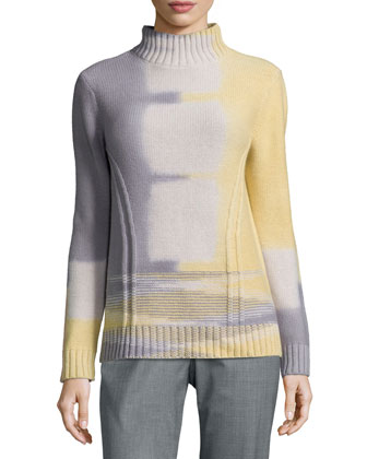 Long-Sleeve Turtleneck Sweater, Millstone Multi
