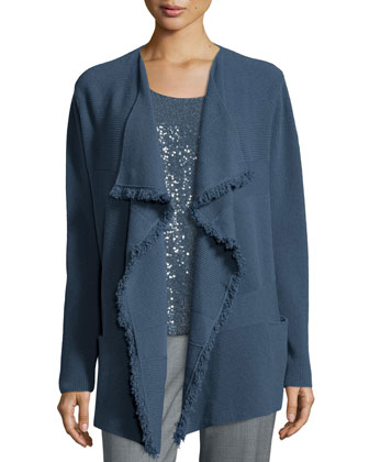 Mix-Ribbed Cardigan W/ Fringe Trim