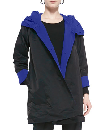 Reversible Hooded Rain Coat, Black/Adriatic
