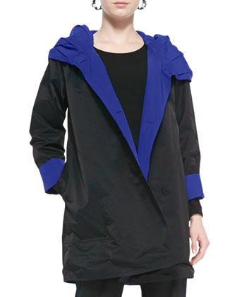 Reversible Hooded Rain Coat, Black/Adriatic