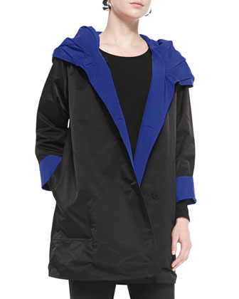 Reversible Hooded Rain Coat, Black/Adriatic, Petite