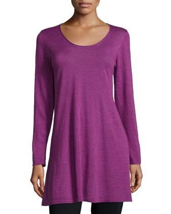 Long-Sleeve A-line Jersey Tunic