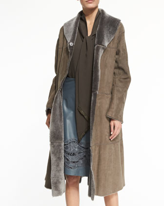Hudson Lamb Fur Coat, Charlie Sleeveless Scarf-Neck Blouse & Tatiana ...