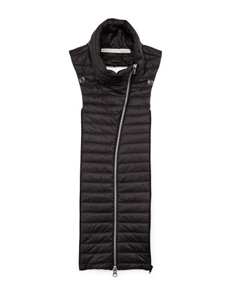 Quilted Funnel-Neck Dickey, Black