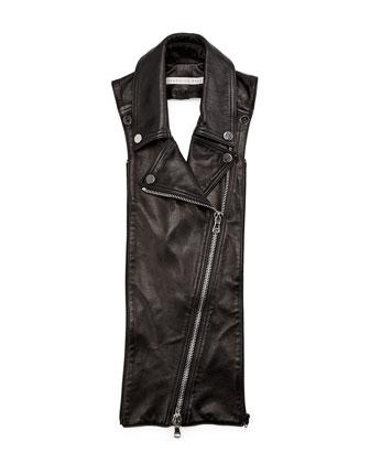 Biker Leather Lapel Dickey, Black