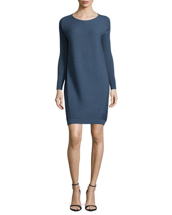 Long-Sleeve Mix-Ribbed Dress