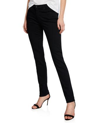 Prima Mid-Rise Skinny Jeans, Super Black
