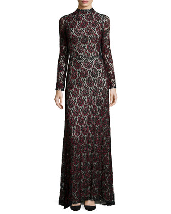 Long-Sleeve Mock-Neck Beaded Paisley Gown