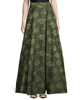 Sleeveless Floral Jacquard Crop Top & Floral Jacquard High-Low Skirt