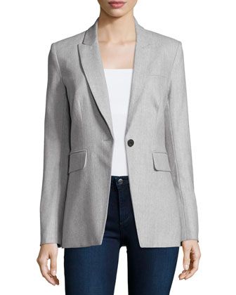 Long & Lean Herringbone Jacket, Gray