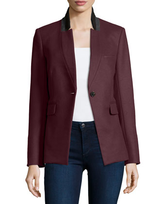 Cutaway Stand-Collar Jacket, Bordeaux