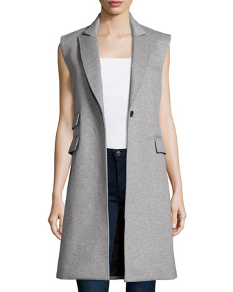 Palmer Long Sleeveless Vest, Heather Gray