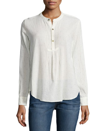 The Pintuck Long-Sleeve Blouse, Diamond Ditsy