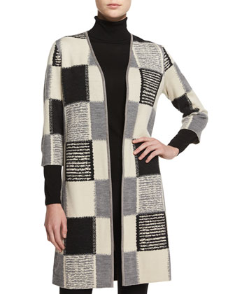 Checkered Jacquard Long Cardigan, Fine-Gauge Merino Turtleneck & Punto ...