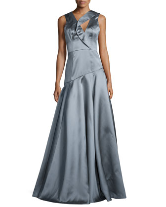 Sleeveless Asymmetric Ball Gown