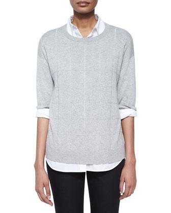 Lightweight Grid-Stitch 3/4-Sleeve Sweater