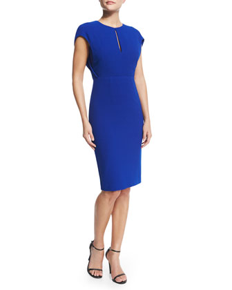 Cap-Sleeve Keyhole-Front Sheath Dress