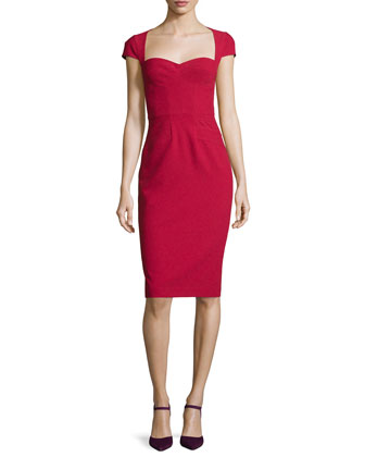 Cap-Sleeve Sweetheart Sheath Dress