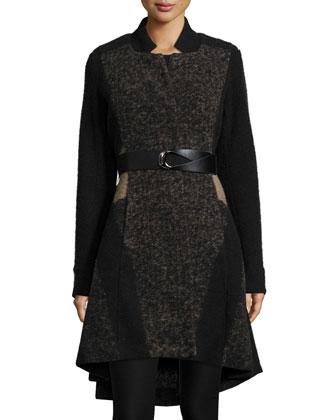 Textured Twirl High-Low Coat, Women's