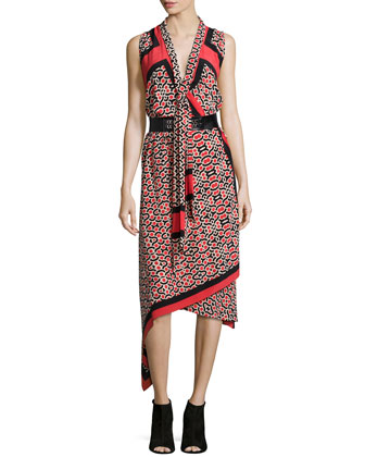 Sleeveless Printed Tie-Neck Scarf Dress