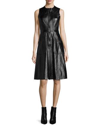 Felicity Sleeveless Fit-&-Flare Dress, Black