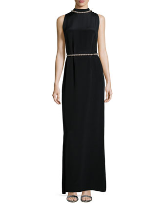 Sleeveless Beaded-Neck/Waist Column Gown