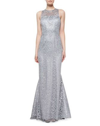 Sleeveless Jewel-Neck Lace Gown, Platinum