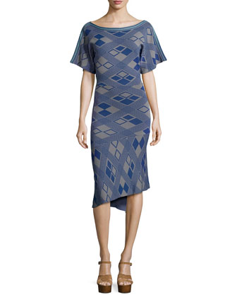 Flutter-Sleeve Square-Print Dress, Navy