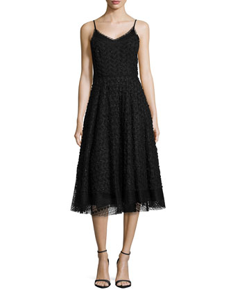 Sleeveless Embellished Overlay Cocktail Dress, Black