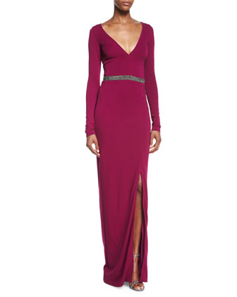 Long-Sleeve Beaded Column Gown