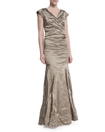 Cap-Sleeve Ruched Mermaid Gown