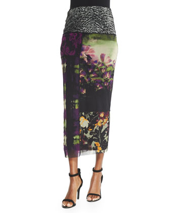 Mixed-Print Straight Maxi Skirt
