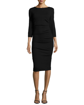 3/4-Sleeve Ruched Knit Sheath Dress