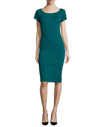 Short-Sleeve Ponte Body-Conscious Sheath Dress
