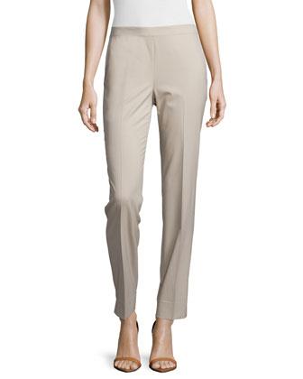 Pria Open-Front Coat, Charmeuse Silk Bias Tank & Bleecker Straight-Leg Pants
