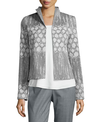 Maud Printed Woven Short Jacket, Charmeuse Silk Bias Tank & Barrow ...