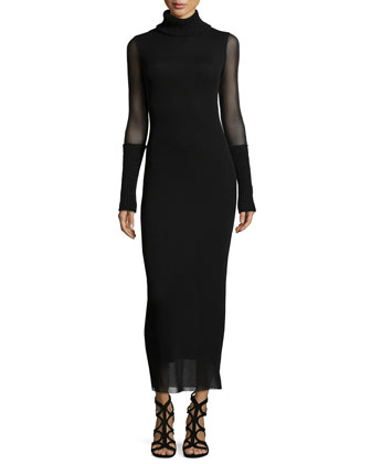 Turtleneck Sheer-Sleeve Body-Conscious Dress