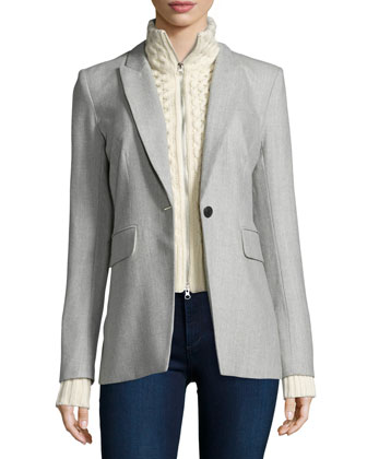 Long & Lean Jacket with Upstate Knit Dickey, Gray/Ivory