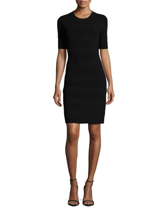 short-sleeve textured scuba sheath dress
