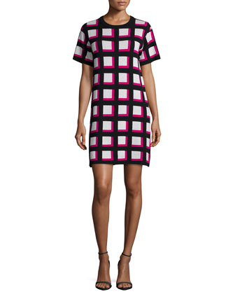 short-sleeve checkered sweaterdress